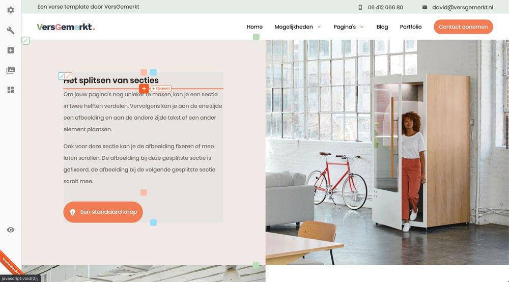 VersGemerkt Verse Website Kolommen en Inhoudselementen
