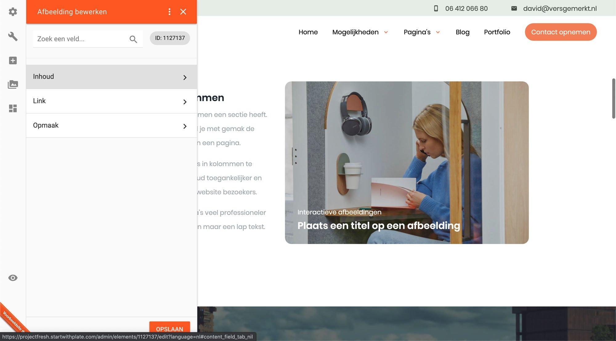 Afbeelding element aanpassen Plate VersGemerkt Verse Website