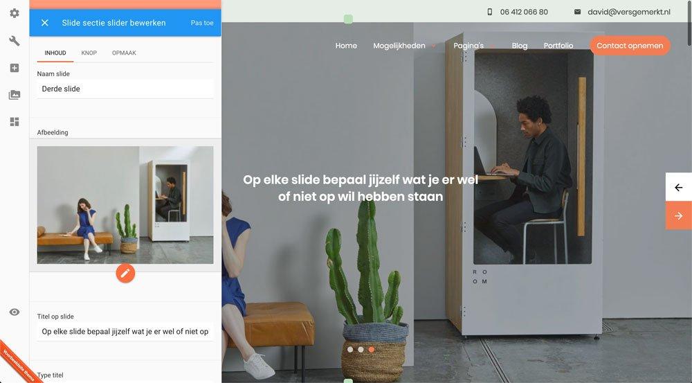 VersGemerkt Verse Website Plate Slide Instellingen