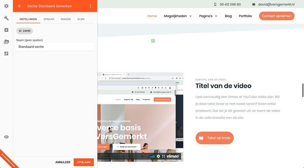 VersGemerkt Verse Website Plate Standaard Sectie