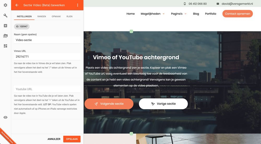 VersGemerkt Verse Website Plate Video Sectie Bewerken
