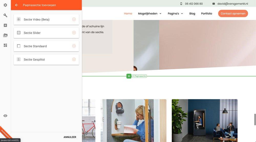 VersGemerkt Verse Website Sectie Toevoegen Plate