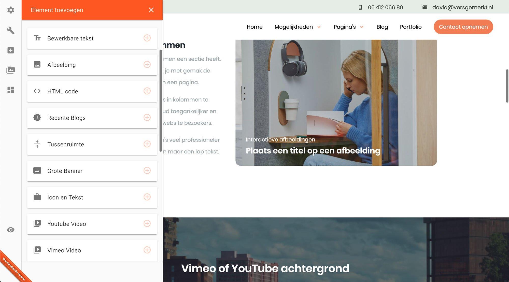 Verse Website VersGemerkt Element zelf toevoegen
